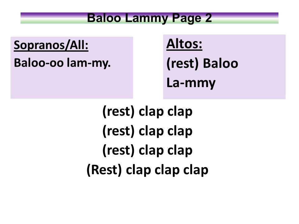 Baloo Lammy Page 5 Solo: The shepherds are tending their flocks nearby When Angels appearing sing Glory on high! Sopranos/All: That blessed baby So loving and kind Shall now rejoice Both heart And mind.