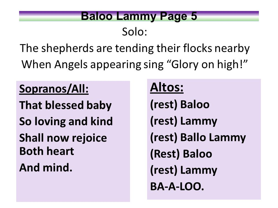 Baloo Lammy Page 6 Sopranos: Baloo-oo lam-my.