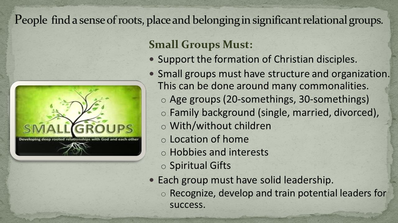 Small Groups Must: Support the formation of Christian disciples.
