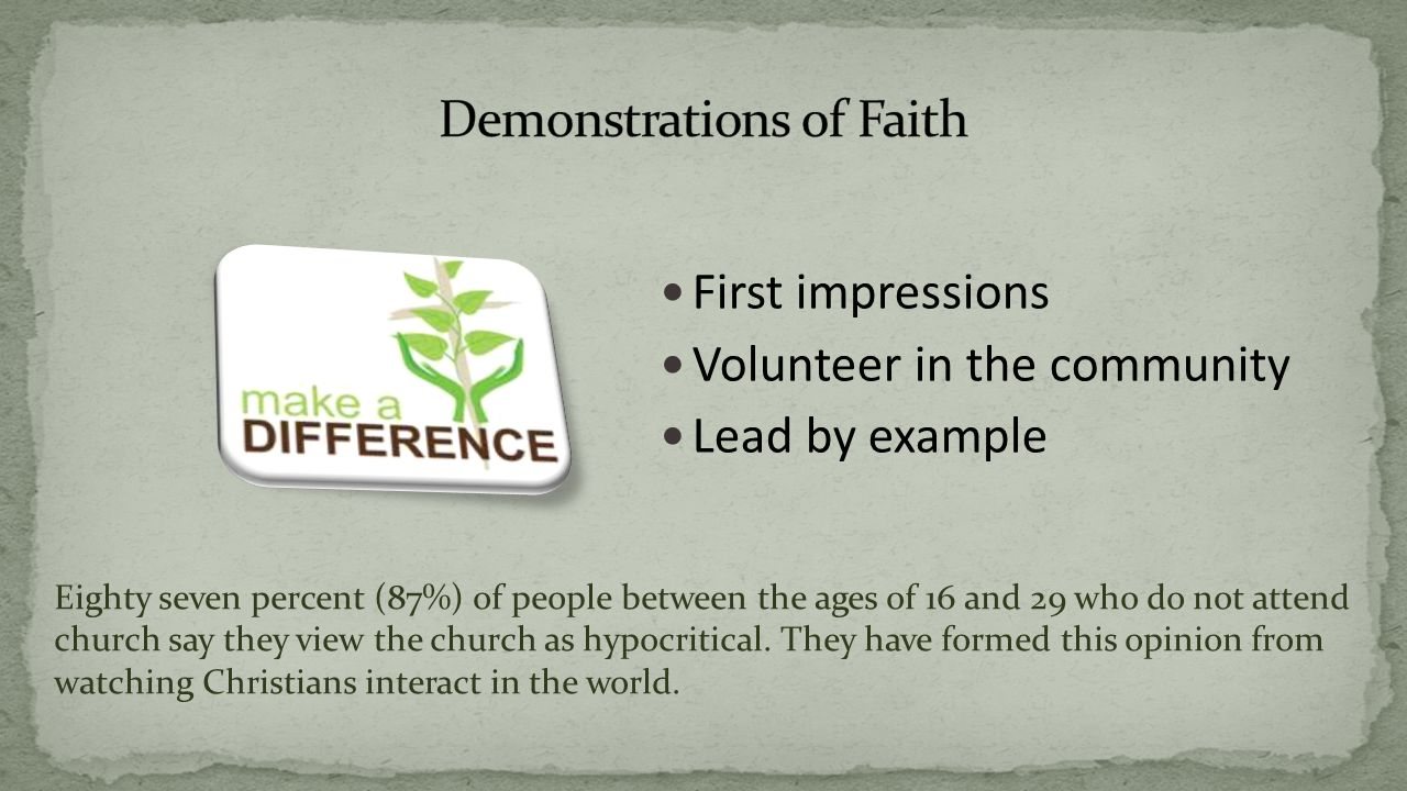 First impressions Volunteer in the community Lead by example Eighty seven percent (87%) of people between the ages of 16 and 29 who do not attend church say they view the church as hypocritical.