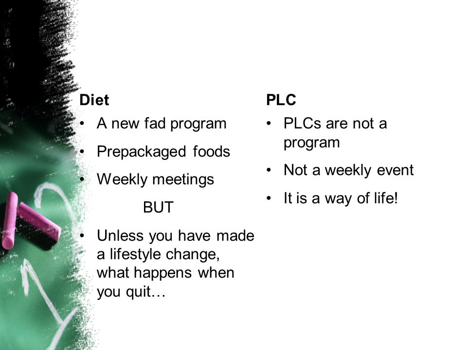 Diet A new fad program Prepackaged foods Weekly meetings BUT Unless you have made a lifestyle change, what happens when you quit… PLC PLCs are not a program Not a weekly event It is a way of life!