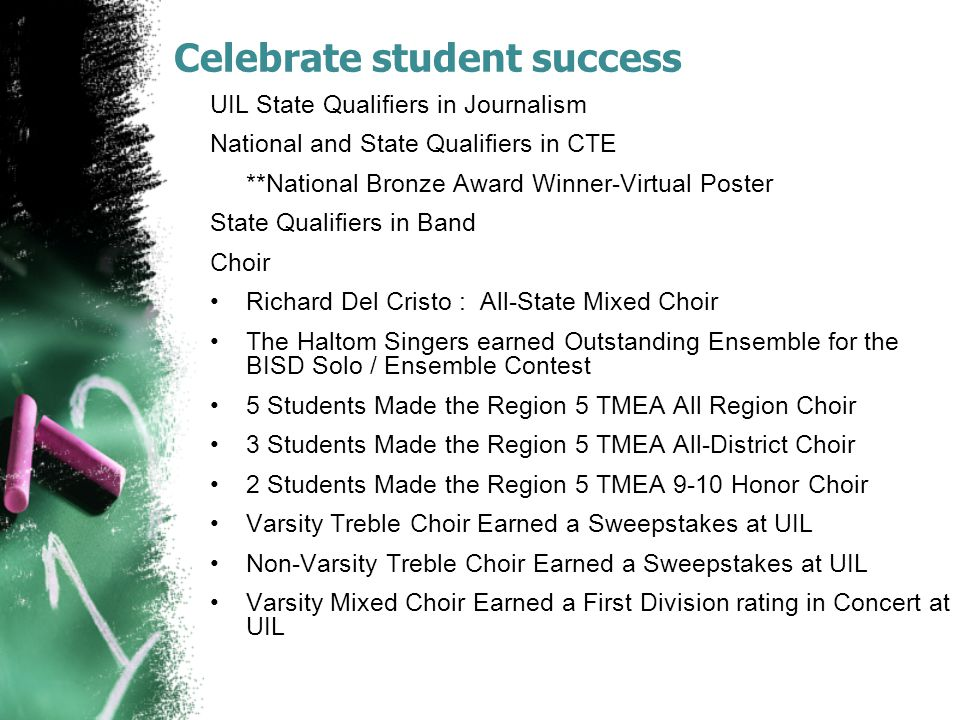 Celebrate student success UIL State Qualifiers in Journalism National and State Qualifiers in CTE **National Bronze Award Winner-Virtual Poster State Qualifiers in Band Choir Richard Del Cristo : All-State Mixed Choir The Haltom Singers earned Outstanding Ensemble for the BISD Solo / Ensemble Contest 5 Students Made the Region 5 TMEA All Region Choir 3 Students Made the Region 5 TMEA All-District Choir 2 Students Made the Region 5 TMEA 9-10 Honor Choir Varsity Treble Choir Earned a Sweepstakes at UIL Non-Varsity Treble Choir Earned a Sweepstakes at UIL Varsity Mixed Choir Earned a First Division rating in Concert at UIL