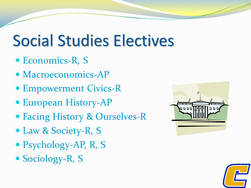 Social Studies Electives Economics-R, S Macroeconomics-AP Empowerment Civics-R European History-AP Facing History & Ourselves-R Law & Society-R, S Psychology-AP, R, S Sociology-R, S