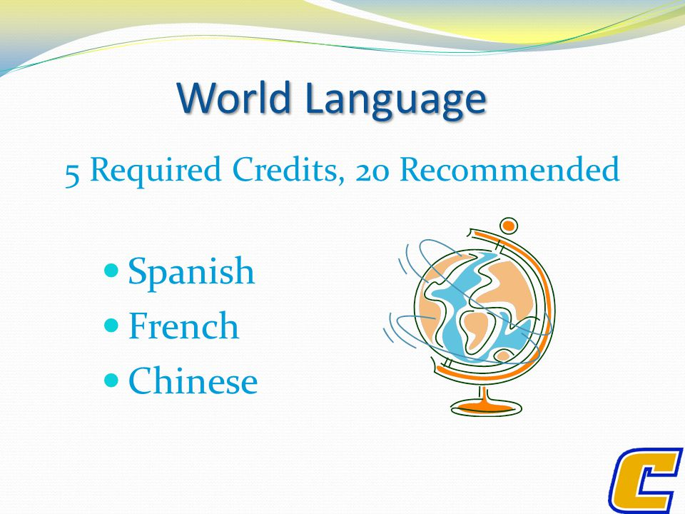 World Language 5 Required Credits, 20 Recommended Spanish French Chinese