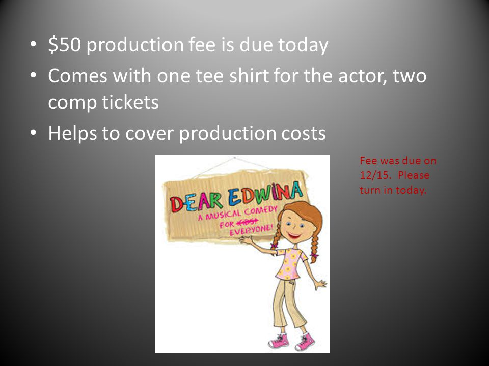 $50 production fee is due today Comes with one tee shirt for the actor, two comp tickets Helps to cover production costs Fee was due on 12/15. Please