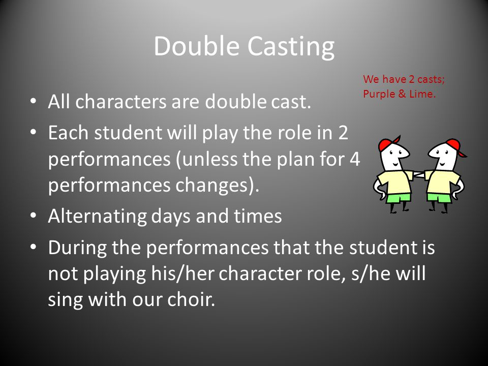 Double Casting All characters are double cast.