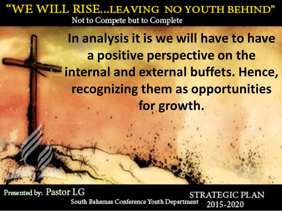 In analysis it is we will have to have a positive perspective on the internal and external buffets. Hence, recognizing them as opportunities for growt