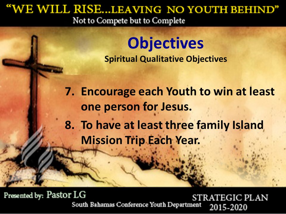 Objectives Spiritual Qualitative Objectives 7.Encourage each Youth to win at least one person for Jesus. 8.To have at least three family Island Missio