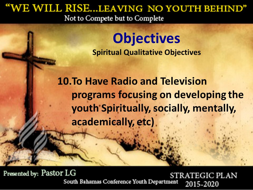 Objectives Spiritual Qualitative Objectives 10.To Have Radio and Television programs focusing on developing the youth Spiritually, socially, mentally, academically, etc)
