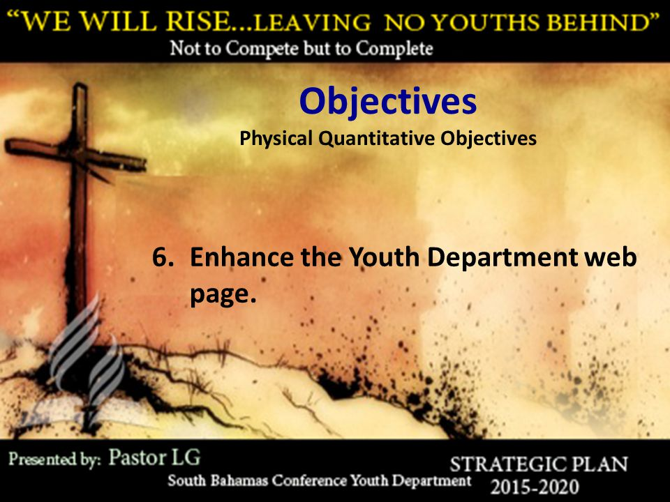Objectives Physical Quantitative Objectives 6.Enhance the Youth Department web page.