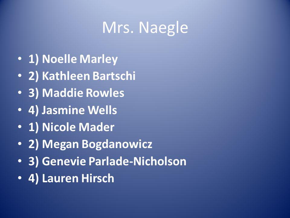 Mrs. Naegle 1) Noelle Marley 2) Kathleen Bartschi 3) Maddie Rowles 4) Jasmine Wells 1) Nicole Mader 2) Megan Bogdanowicz 3) Genevie Parlade-Nicholson
