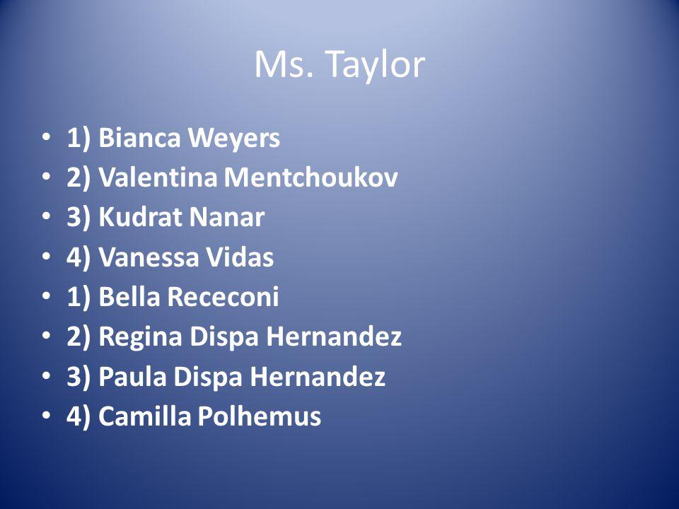Ms. Taylor 1) Bianca Weyers 2) Valentina Mentchoukov 3) Kudrat Nanar 4) Vanessa Vidas 1) Bella Receconi 2) Regina Dispa Hernandez 3) Paula Dispa Herna