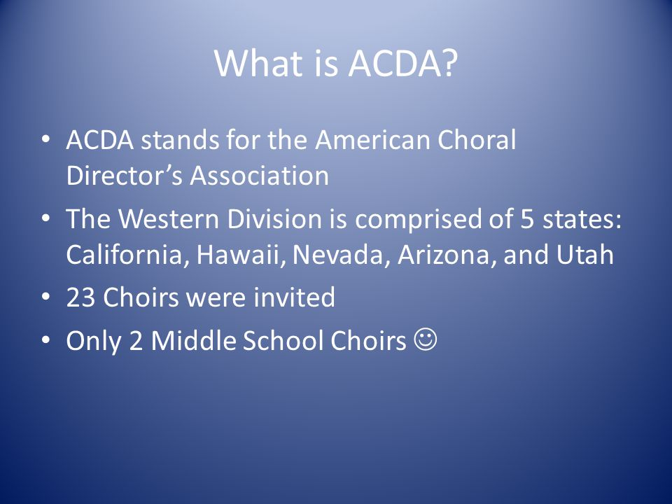 What is ACDA.