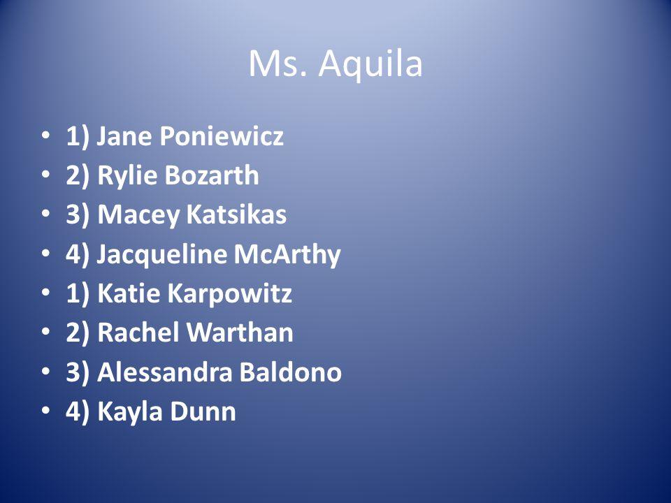 Ms. Aquila 1) Jane Poniewicz 2) Rylie Bozarth 3) Macey Katsikas 4) Jacqueline McArthy 1) Katie Karpowitz 2) Rachel Warthan 3) Alessandra Baldono 4) Ka