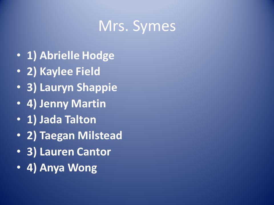 Mrs. Symes 1) Abrielle Hodge 2) Kaylee Field 3) Lauryn Shappie 4) Jenny Martin 1) Jada Talton 2) Taegan Milstead 3) Lauren Cantor 4) Anya Wong