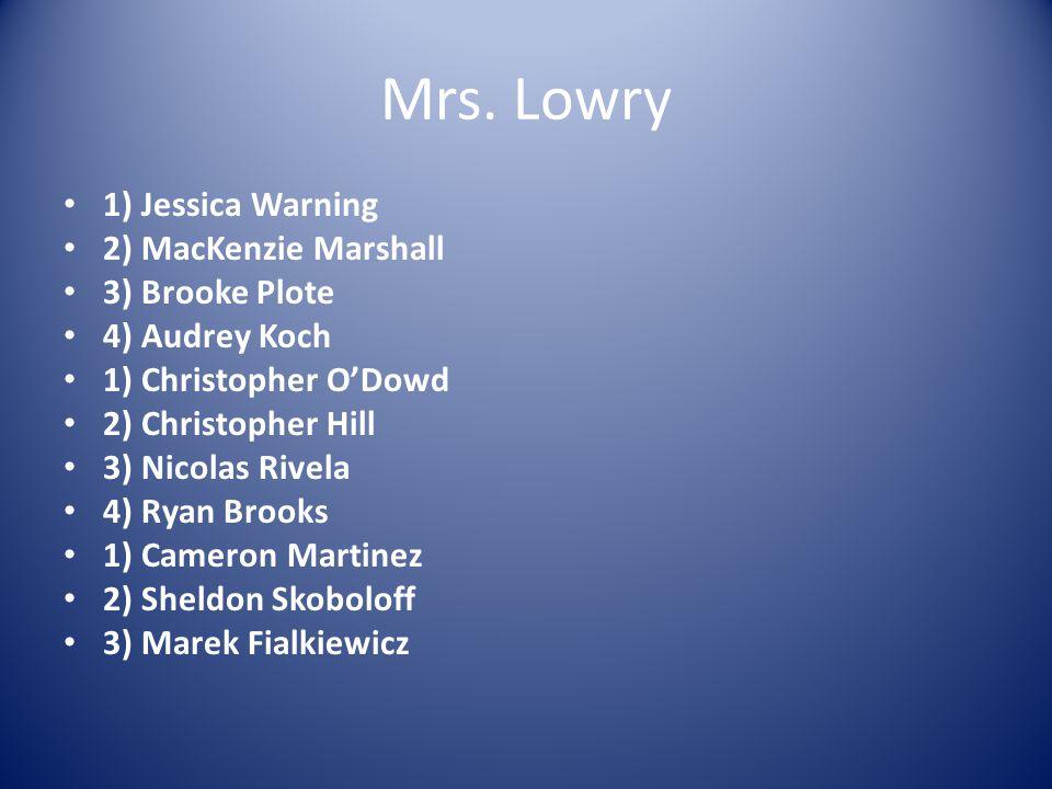Mrs. Lowry 1) Jessica Warning 2) MacKenzie Marshall 3) Brooke Plote 4) Audrey Koch 1) Christopher O'Dowd 2) Christopher Hill 3) Nicolas Rivela 4) Ryan