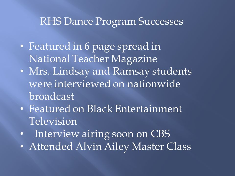 RHS Dance Program Successes Featured in 6 page spread in National Teacher Magazine Mrs.