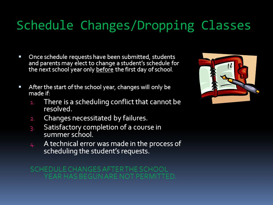 Schedule Changes/Dropping Classes  Once schedule requests have been submitted, students and parents may elect to change a student's schedule for the next school year only before the first day of school.