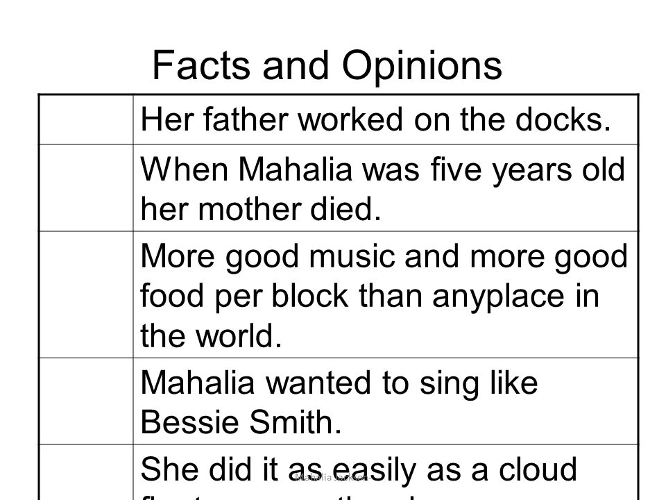 Facts and Opinions Her father worked on the docks.