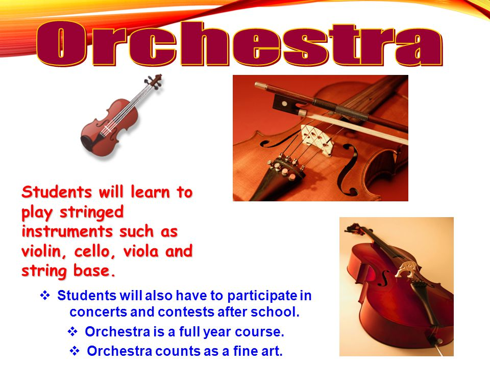 Students will learn to play stringed instruments such as violin, cello, viola and string base.  Students will also have to participate in concerts an