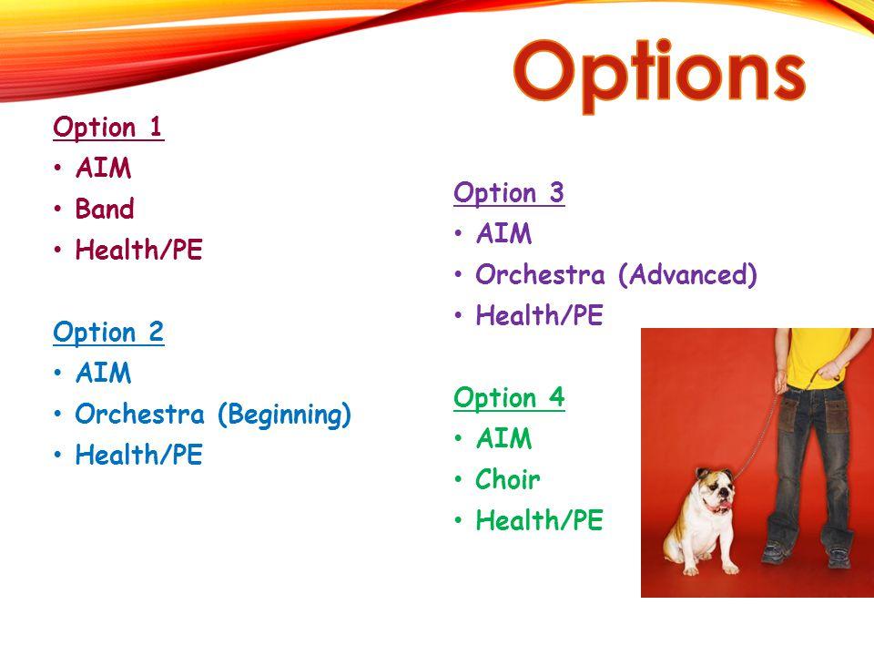 Option 1 AIM Band Health/PE Option 2 AIM Orchestra (Beginning) Health/PE Option 3 AIM Orchestra (Advanced) Health/PE Option 4 AIM Choir Health/PE