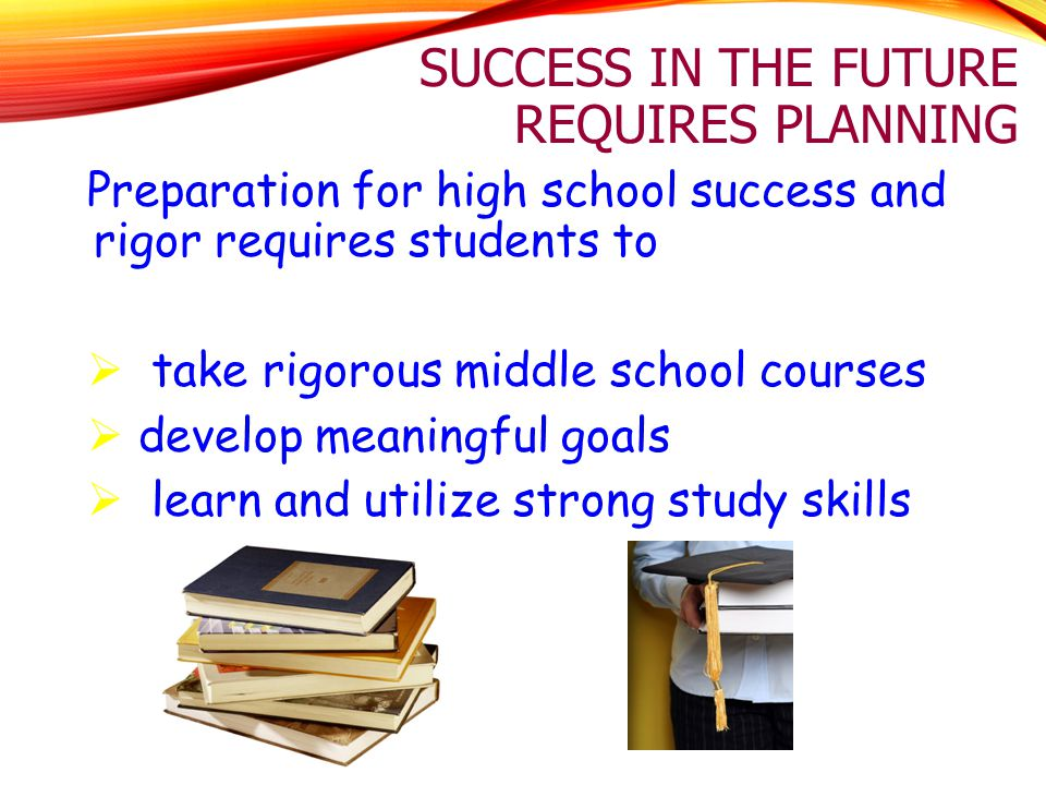SUCCESS IN THE FUTURE REQUIRES PLANNING Preparation for high school success and rigor requires students to  take rigorous middle school courses  dev