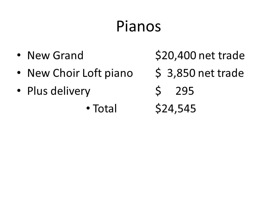 Pianos New Grand$20,400 net trade New Choir Loft piano$ 3,850 net trade Plus delivery$ 295 Total$24,545