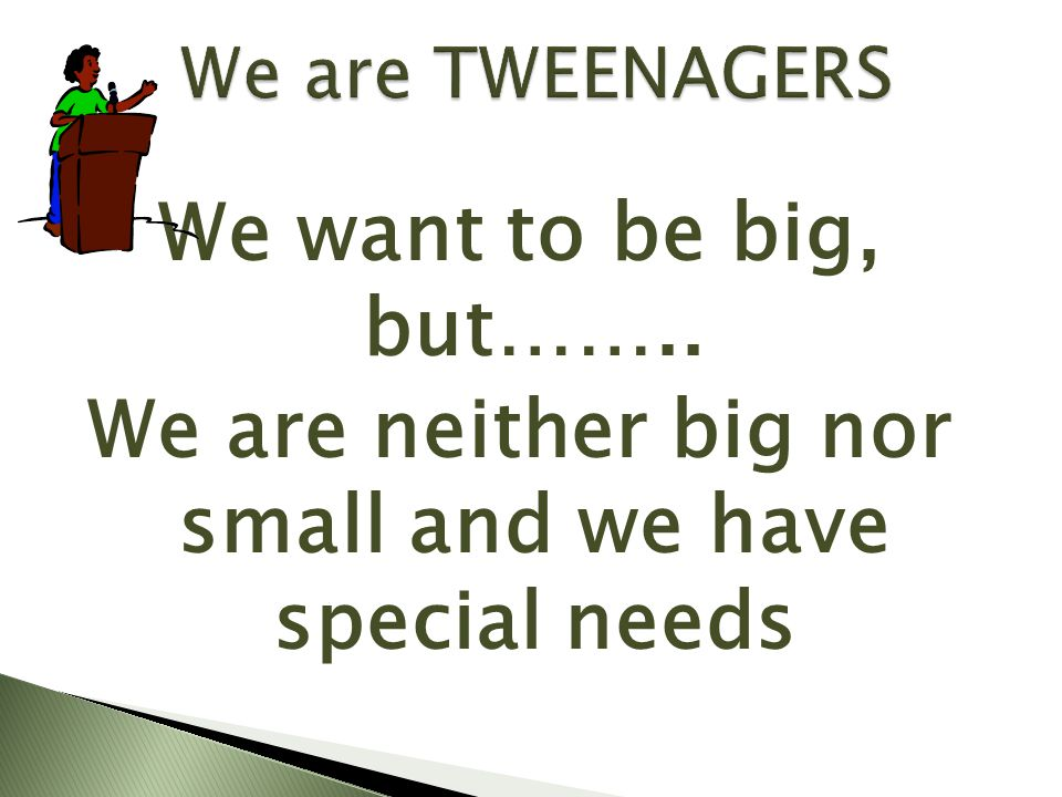 We want to be big, but…….. We are neither big nor small and we have special needs