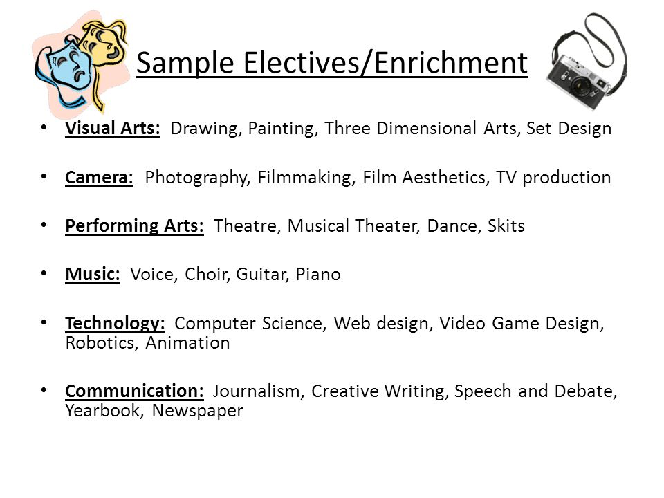 Sample Electives/Enrichment Visual Arts: Drawing, Painting, Three Dimensional Arts, Set Design Camera: Photography, Filmmaking, Film Aesthetics, TV pr