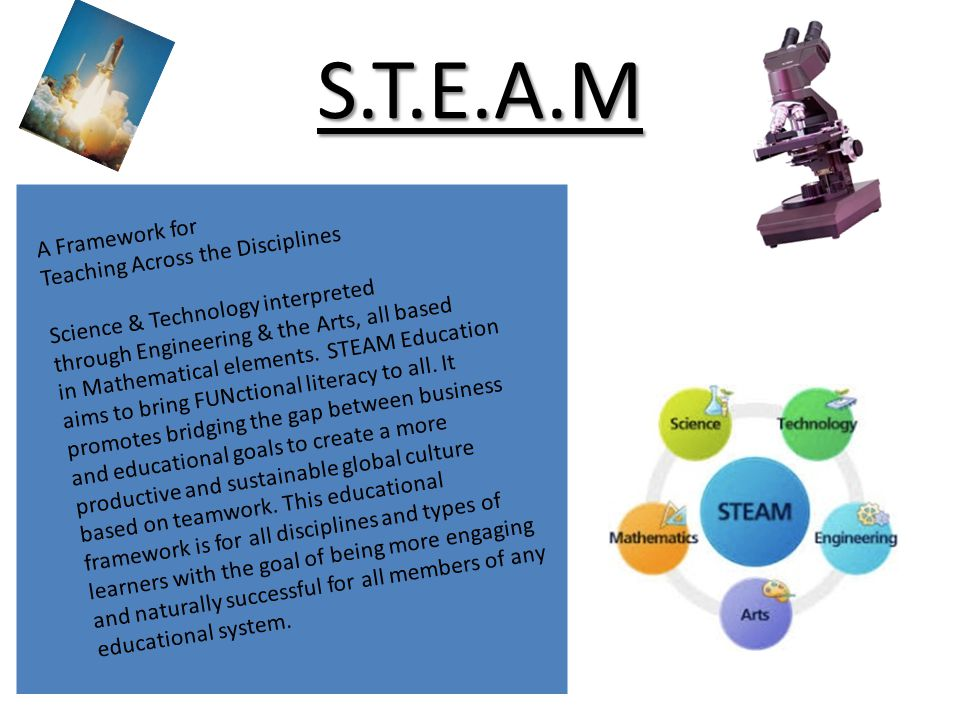 S.T.E.A.M A Framework for Teaching Across the Disciplines Science & Technology interpreted through Engineering & the Arts, all based in Mathematical e