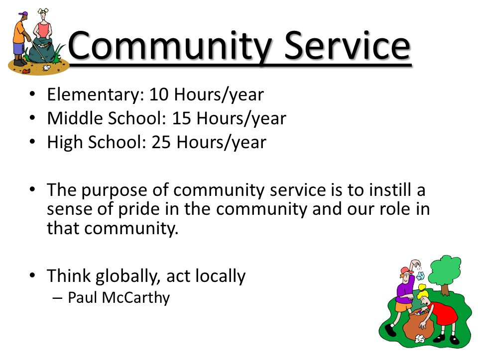 Community Service Elementary: 10 Hours/year Middle School: 15 Hours/year High School: 25 Hours/year The purpose of community service is to instill a s