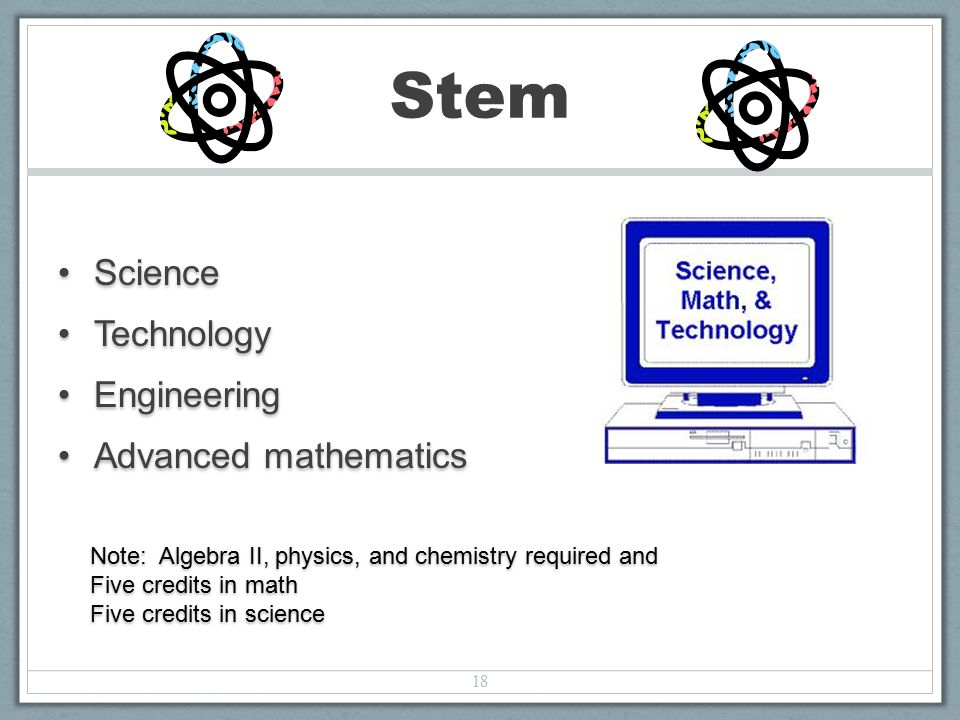 ScienceScience TechnologyTechnology EngineeringEngineering Advanced mathematicsAdvanced mathematics 18 Stem Note: Algebra II, physics, and chemistry required and Five credits in math Five credits in science