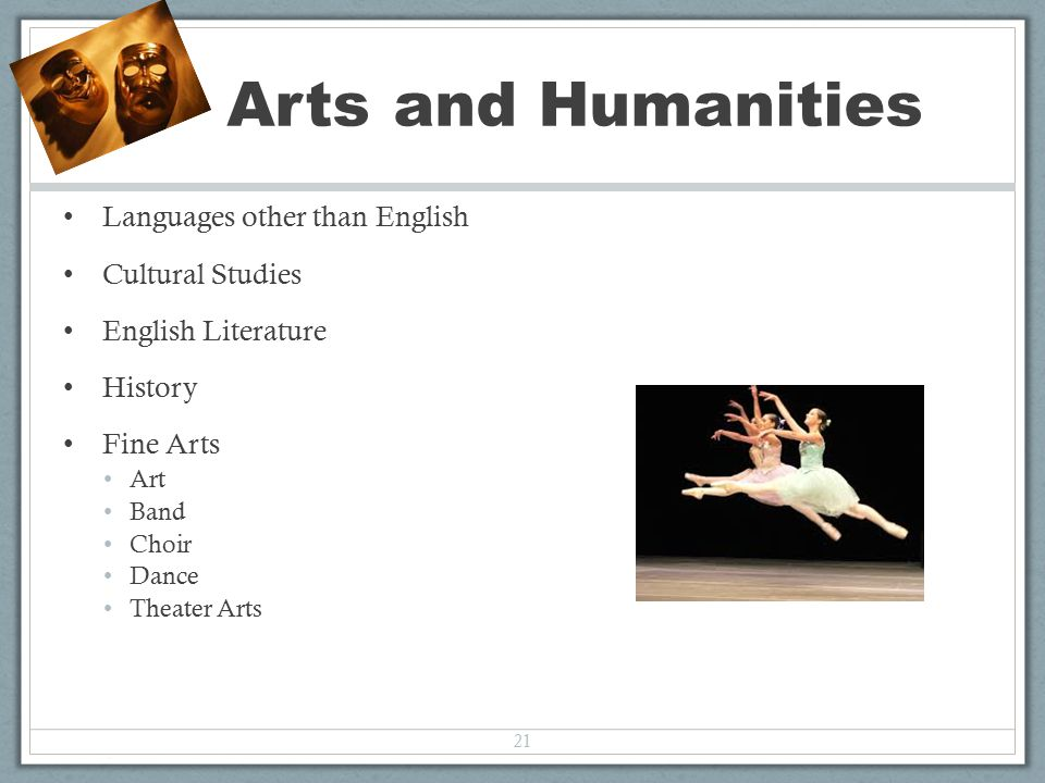 Languages other than English Cultural Studies English Literature History Fine Arts Art Band Choir Dance Theater Arts 21 Arts and Humanities