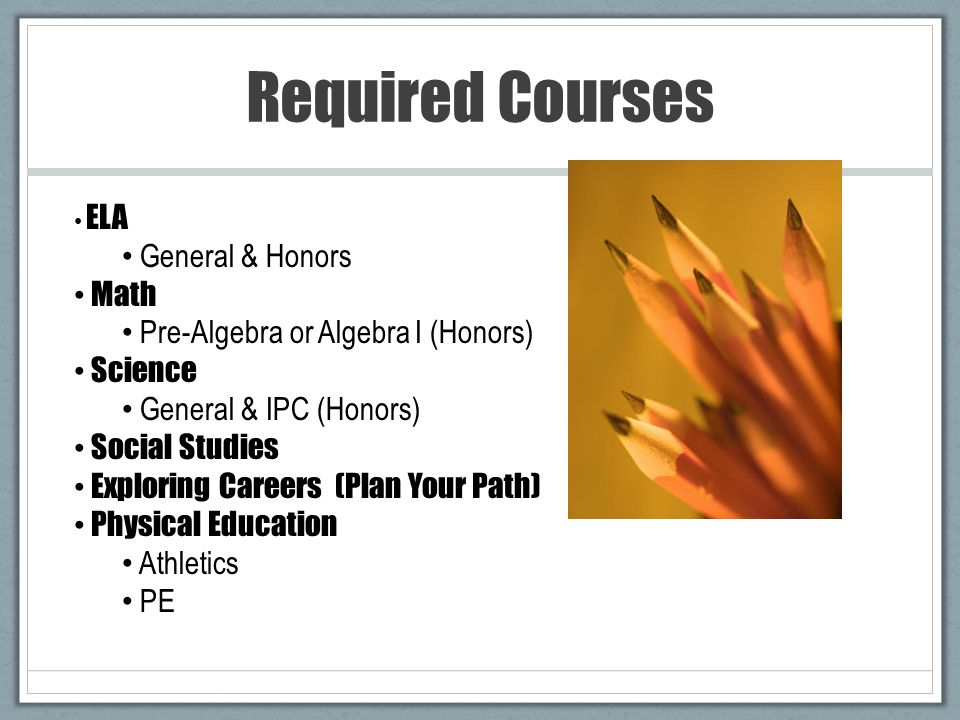 Required Courses ELA General & Honors Math Pre-Algebra or Algebra I (Honors) Science General & IPC (Honors) Social Studies Exploring Careers (Plan Your Path) Physical Education Athletics PE