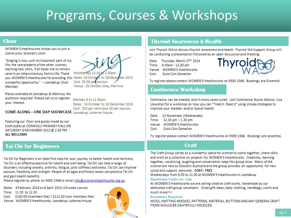 Programs, Courses & Workshops Thyroid Awareness & Health Join Thyroid WA to discuss thyroid awareness and health.