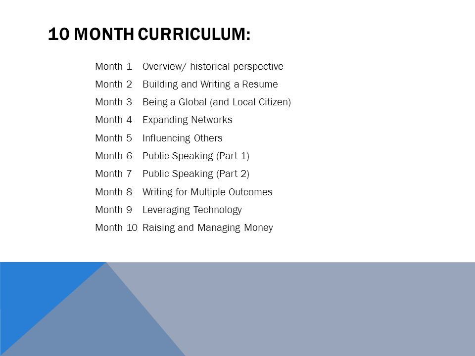 10 MONTH CURRICULUM: Month 1Overview/ historical perspective Month 2Building and Writing a Resume Month 3Being a Global (and Local Citizen) Month 4Expanding Networks Month 5Influencing Others Month 6Public Speaking (Part 1) Month 7Public Speaking (Part 2) Month 8Writing for Multiple Outcomes Month 9Leveraging Technology Month 10Raising and Managing Money