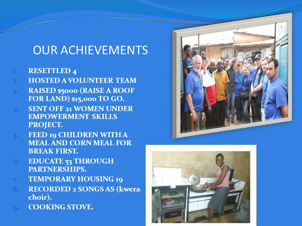 OUR ACHIEVEMENTS 1. RESETTLED 4 2. HOSTED A VOLUNTEER TEAM 3.