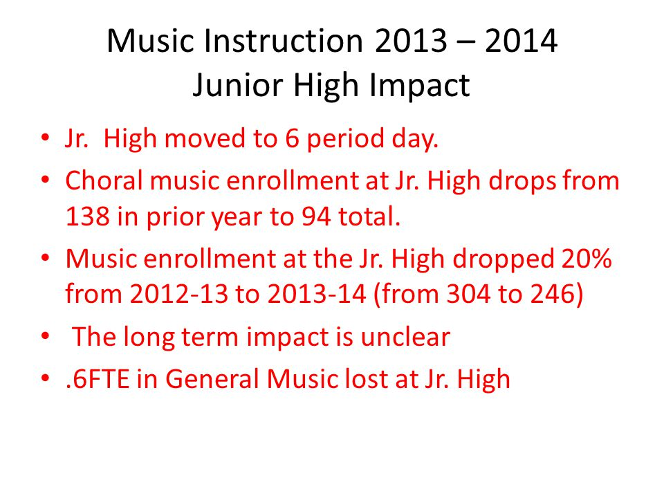 Music Instruction 2013 – 2014 Junior High Impact Jr.