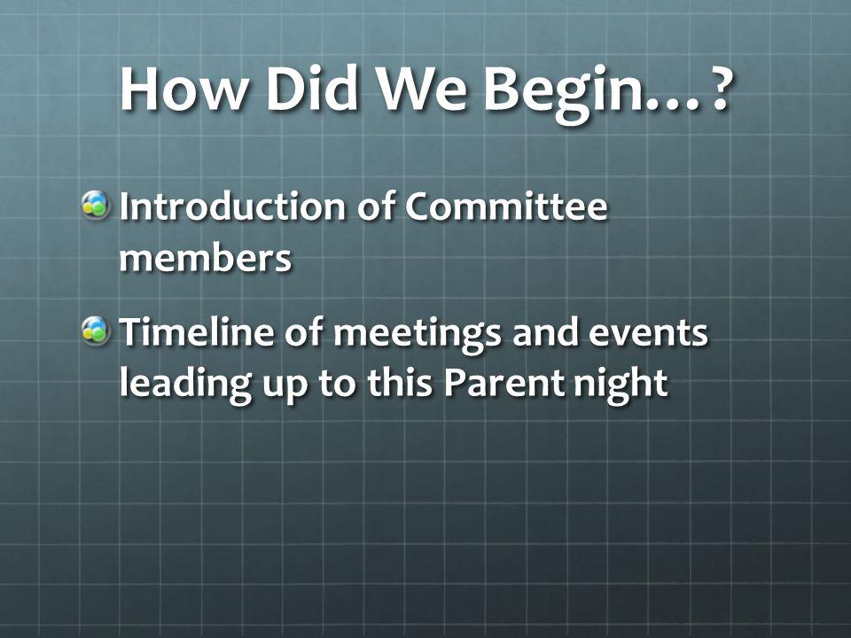 How Did We Begin….