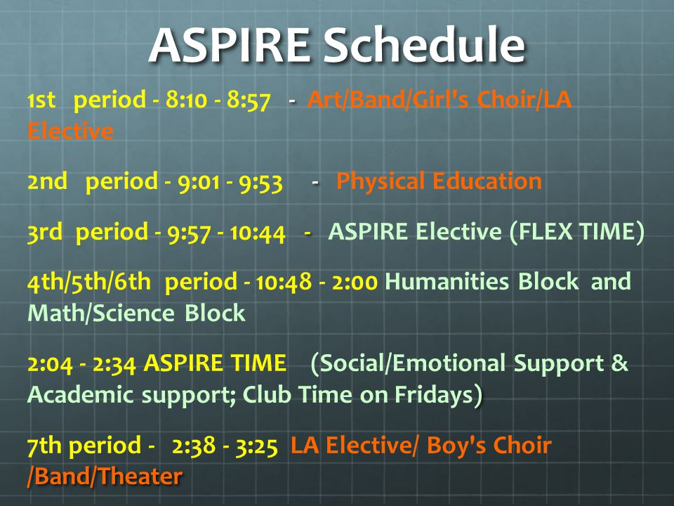 ASPIRE Schedule - 1st period - 8:10 - 8:57 - Art/Band/Girl s Choir/LA Elective - 2nd period - 9:01 - 9:53 - Physical Education - 3rd period - 9:57 - 10:44 - ASPIRE Elective (FLEX TIME) 4th/5th/6th period - 10:48 - 2:00 Humanities Block and Math/Science Block ) 2:04 - 2:34 ASPIRE TIME (Social/Emotional Support & Academic support; Club Time on Fridays) /Band/Theater 7th period - 2:38 - 3:25 LA Elective/ Boy s Choir /Band/Theater