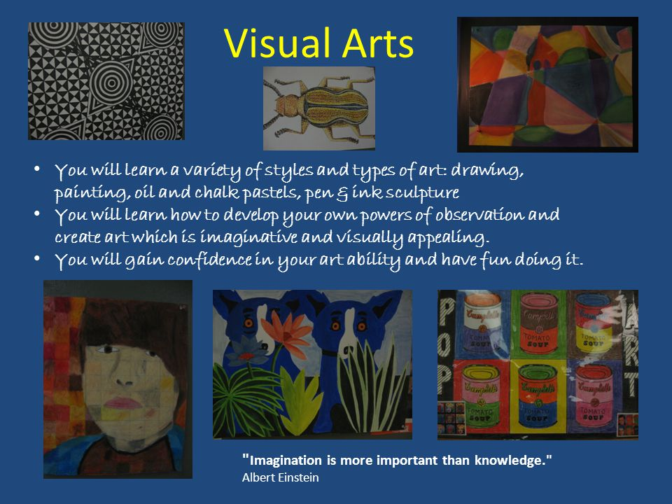 Visual Arts Imagination is more important than knowledge. Albert Einstein You will learn a variety of styles and types of art: drawing, painting, oil and chalk pastels, pen & ink sculpture You will learn how to develop your own powers of observation and create art which is imaginative and visually appealing.