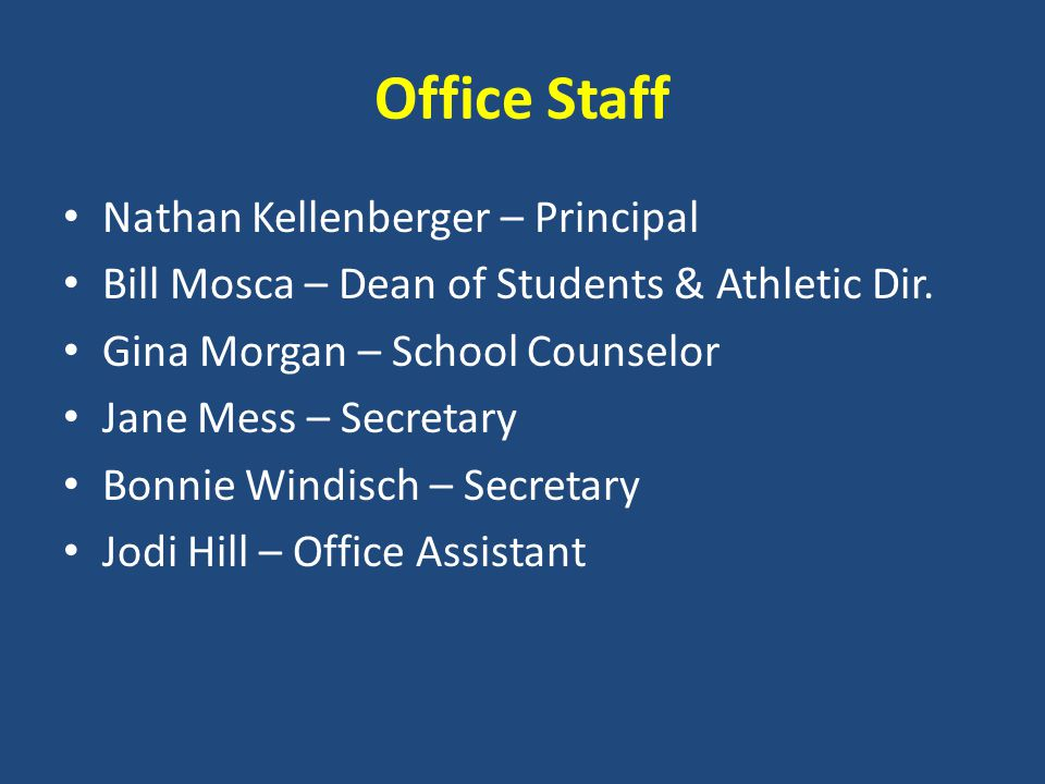 Office Staff Nathan Kellenberger – Principal Bill Mosca – Dean of Students & Athletic Dir.