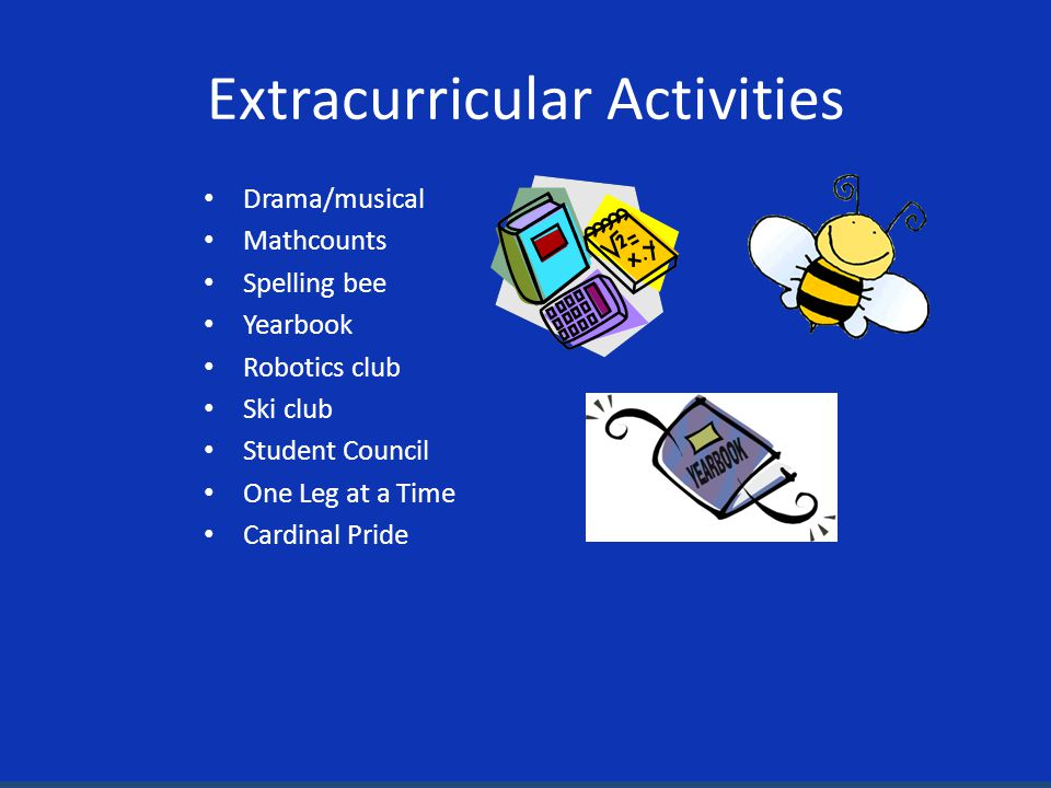 Extracurricular Activities Drama/musical Mathcounts Spelling bee Yearbook Robotics club Ski club Student Council One Leg at a Time Cardinal Pride