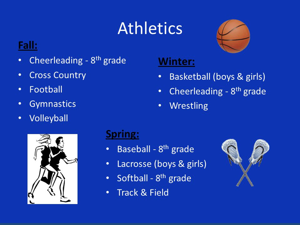 Athletics Fall: Cheerleading - 8 th grade Cross Country Football Gymnastics Volleyball Winter: Basketball (boys & girls) Cheerleading - 8 th grade Wrestling Spring: Baseball - 8 th grade Lacrosse (boys & girls) Softball - 8 th grade Track & Field
