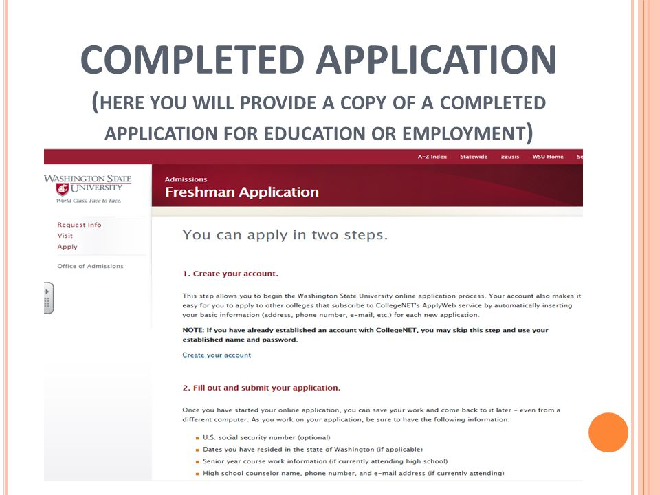 COMPLETED APPLICATION ( HERE YOU WILL PROVIDE A COPY OF A COMPLETED APPLICATION FOR EDUCATION OR EMPLOYMENT )
