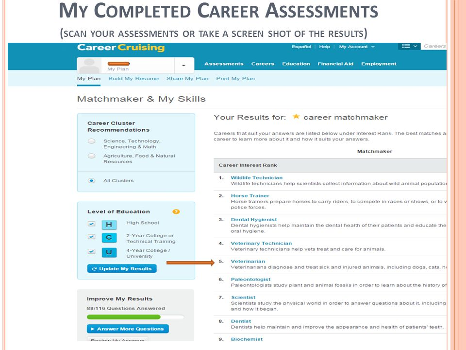 M Y C OMPLETED C AREER A SSESSMENTS ( SCAN YOUR ASSESSMENTS OR TAKE A SCREEN SHOT OF THE RESULTS )