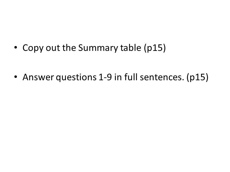 Copy out the Summary table (p15) Answer questions 1-9 in full sentences. (p15)
