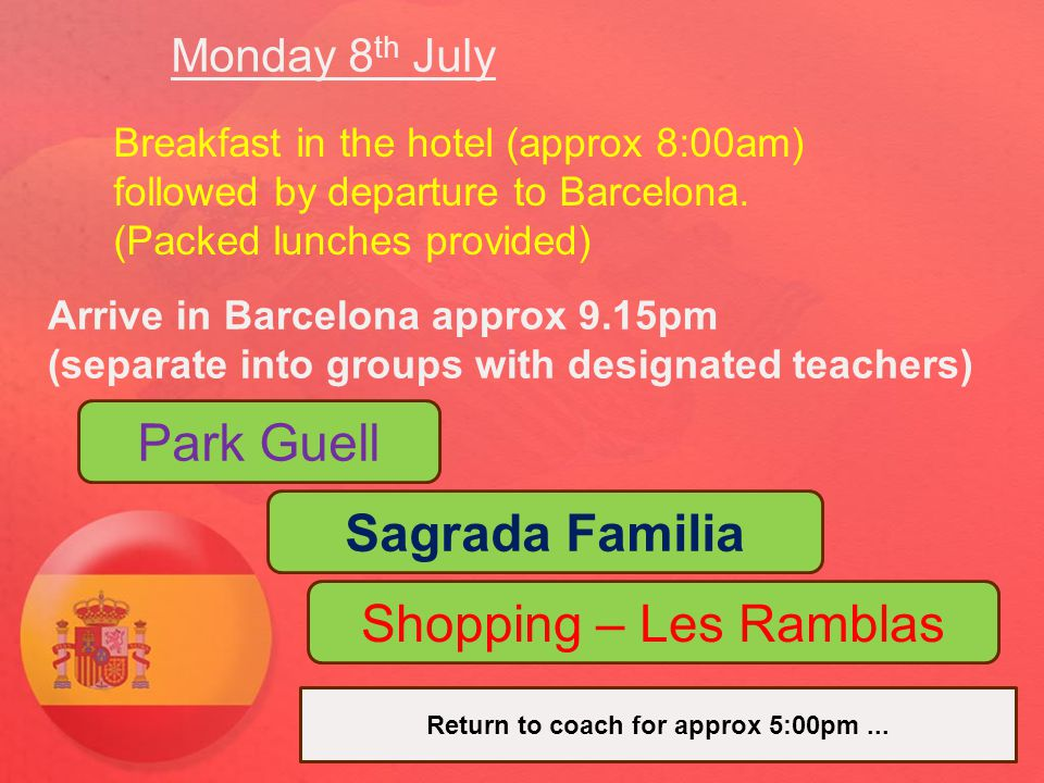Monday 8 th July – Continued Return to Tossa de Mar for evening meal Followed by concert in the local town (Summer Music Festival)