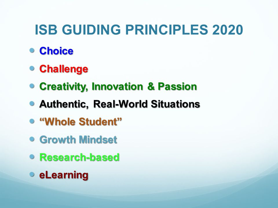 ISB GUIDING PRINCIPLES 2020 Choice Choice Challenge Challenge Creativity, Innovation & Passion Creativity, Innovation & Passion Authentic, Real-World