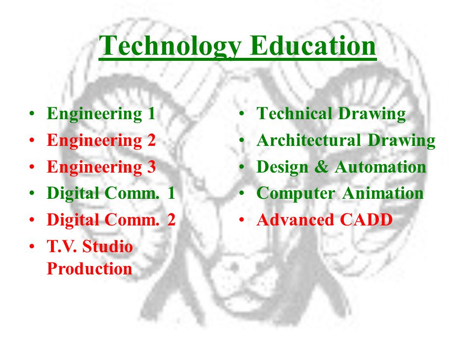 Technology Education Technical Drawing Architectural Drawing Design & Automation Computer Animation Advanced CADD Engineering 1 Engineering 2 Engineering 3 Digital Comm.